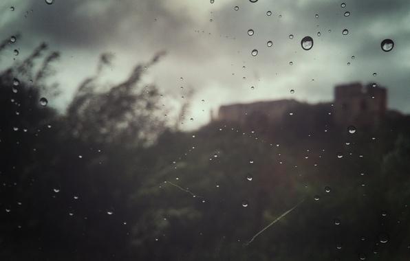 Picture the sky, castle, rain, mood, Drops, window, rain, sky, mood, window, drops, castle, deepho