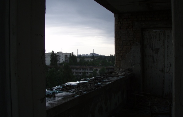 Picture Chernobyl, the view from the window, nuclear power plant