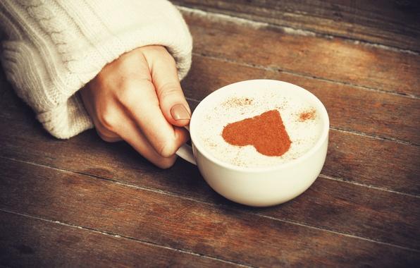 Picture girl, background, widescreen, Wallpaper, mood, heart, hand, mug, Cup, wallpaper, heart, cappuccino, widescreen, background, full …