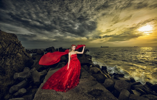 Picture sea, girl, decoration, sunset, style, stones, dress, Asian, red dress, wreath