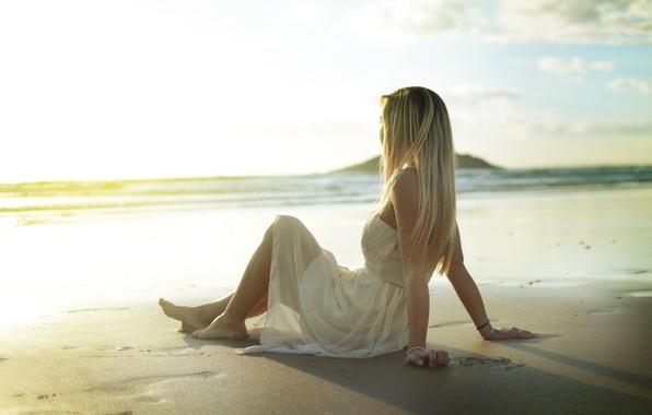Picture sand, beach, girl, pose, dress, blonde, sitting, sundress
