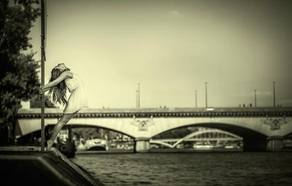 Picture girl, bridge, river, dance, dress, grace