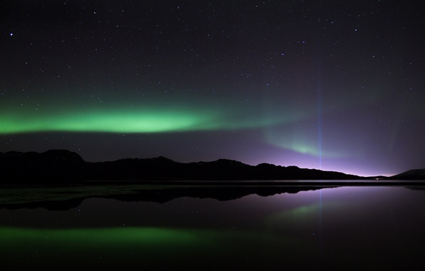 Picture stars, light, reflection, mountains, night, Northern lights