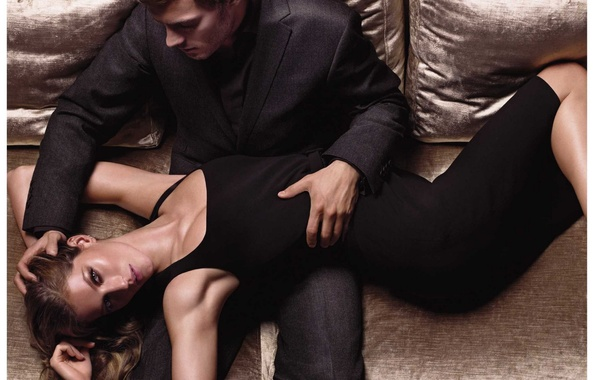 Picture girl, sofa, dress, male