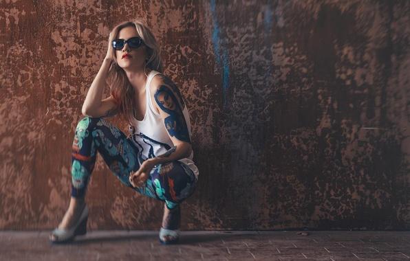 Picture girl, Mike, tattoo, glasses, blonde, girl, model, Photography, Hugo V, Anya Thorne