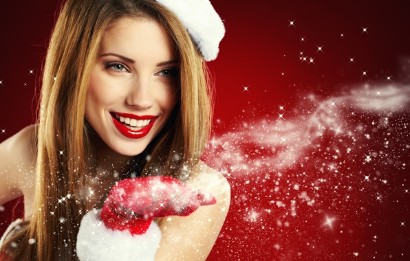 Picture girl, snowflakes, smile, holiday, hand, New Year, maiden, brown hair, glove, red background