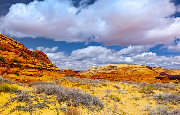 Picture the sky, clouds, mountains, rocks, desert