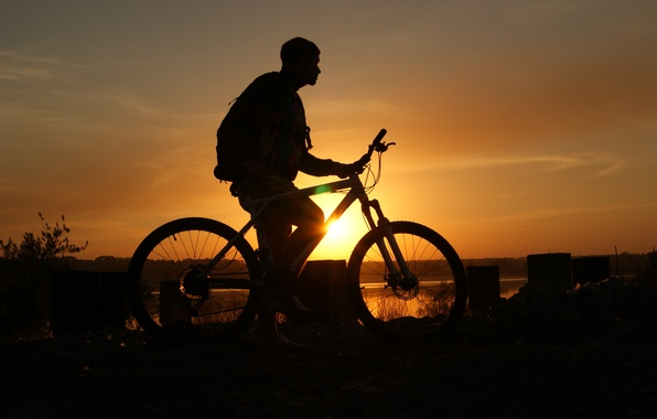 Picture the sky, sunset, guy, Bike