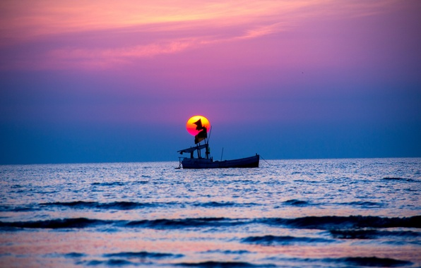 Picture sea, the sky, sunset, boat