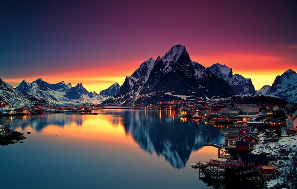 Picture winter, the sky, snow, mountains, night, lights, lake, dawn, home, Norway, Lofoten