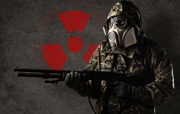 Picture weapons, sign, people, radiation, mask, costume, gloves, form