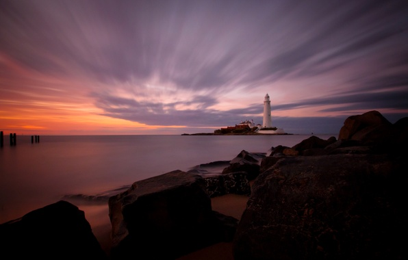 Picture sea, sunset, stones, coast, lighthouse, island, England, horizon, calm, St. Marys Lighthouse