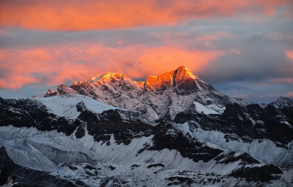 Picture light, sunset, mountains, the evening, Alps, Italy, peaks