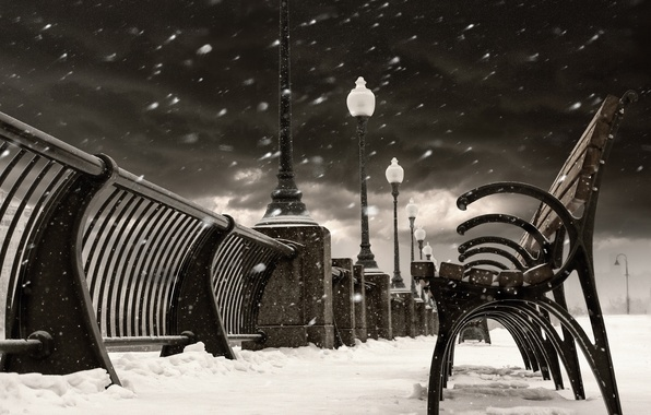 Picture winter, snow, the city, Canada, lights, Montreal, Canada, benches, benches, shop, Quebec, QC, Montreal