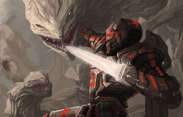 Picture weapons, art, soldiers, monsters, armor