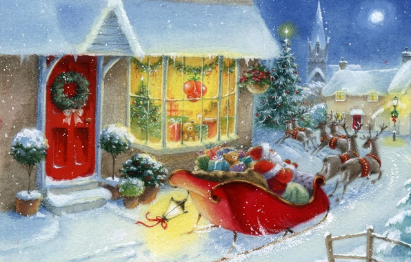 Picture winter, snow, toys, tree, new year, home, gifts, Santa Claus