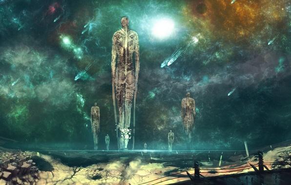 Picture space, nebula, stones, fiction, planet, art, comet, skeleton, nishio nanora, ascension
