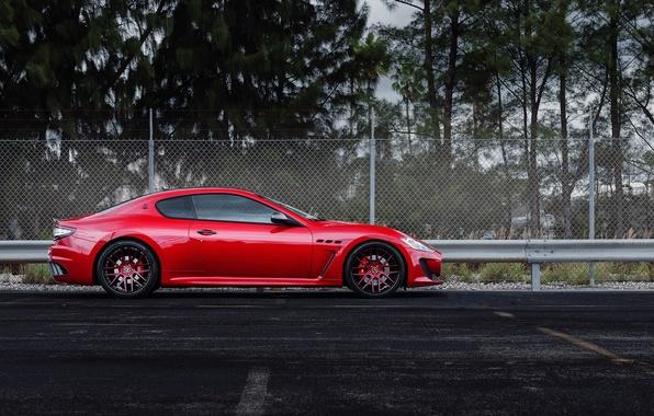 Picture trees, red, Maserati, the fence, profile, red, Maserati, wheels, drives, trees, The GranTurismo MC Stradale, …