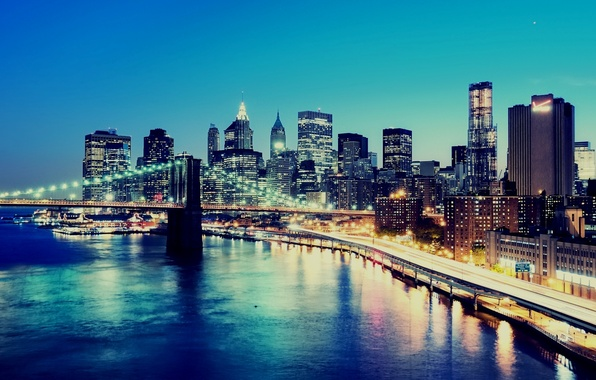 Picture night, bridge, the city, lights, background, Wallpaper, building, construction, New York, skyscrapers, New York City, …
