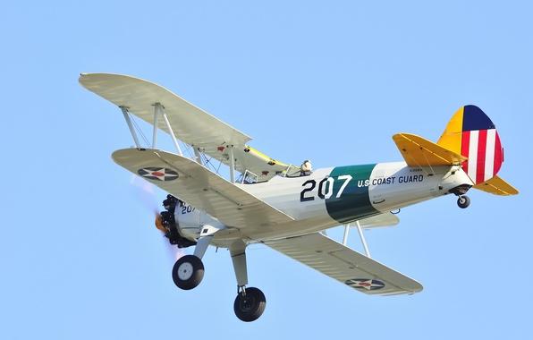 Picture the sky, retro, the plane, pilot, parade, biplane