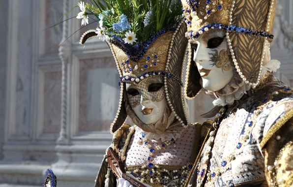 Picture decoration, flowers, mask, costume, Venice, carnival