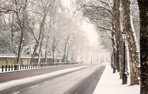 Picture winter, road, snow, trees, England, London, lights, London, England