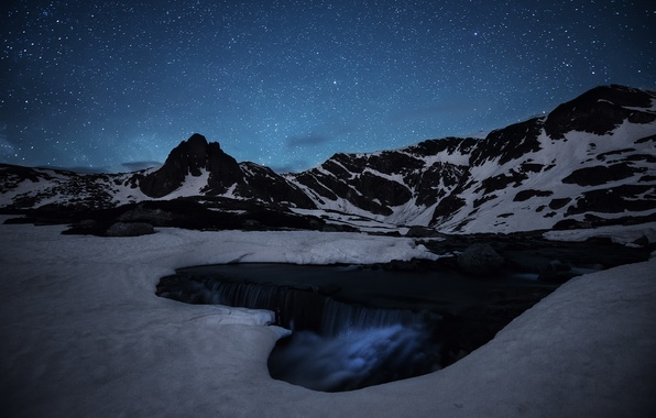 Picture ice, space, stars, mountains, stream, waterfall, mystery, The Milky Way