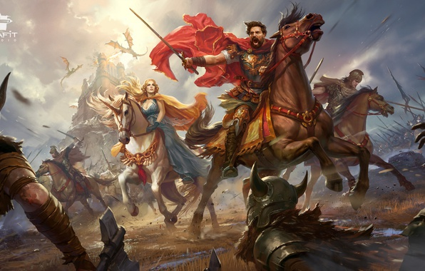 Picture girl, weapons, castle, horses, dragons, army, war, unicorn, battle
