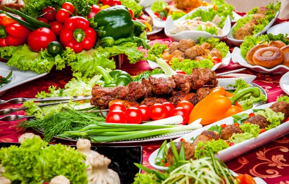 Picture photo, Vegetables, Pepper, Tomatoes, Food, Kebab, Meat products, Serving