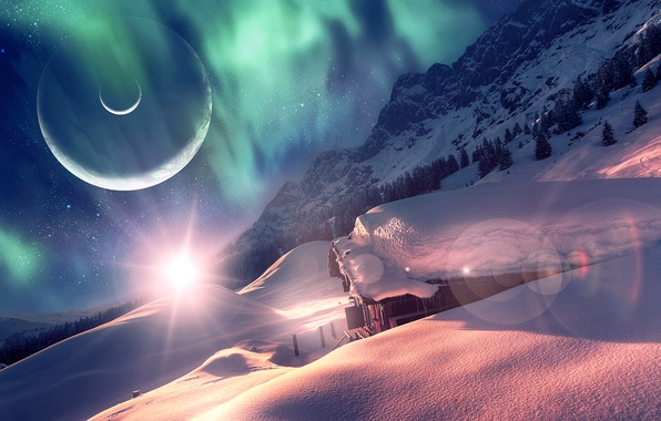 Photo Wallpaper Winter Forest Snow House Planet Dreamworld