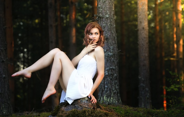 Picture forest, girl, dress, legs, Julia, Forest beauty