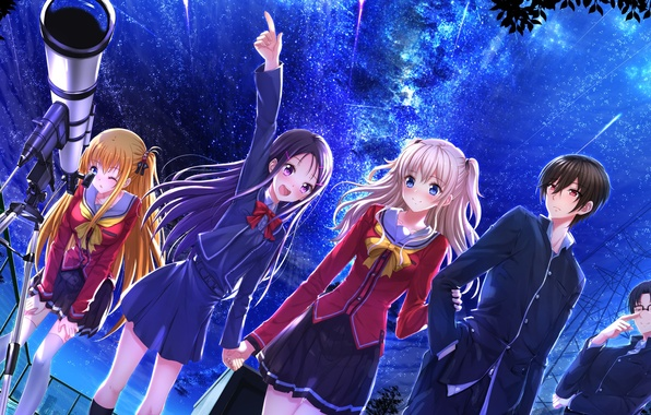 Picture the sky, stars, girls, anime, art, form, guys, telescope, students, swordsouls, charlotte, tomori nao, otosaka …