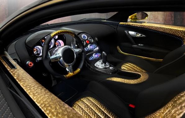 Picture auto, gold, panel, leather, devices, the wheel, sports car, salon, Mansory, Bugatti Veyron 16.4 LINEA …