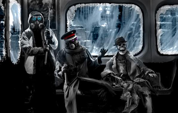 Picture metro, web, hat, art, skeleton, gas mask, captain, sniper, rifle, comic, romance of the Apocalypse, …