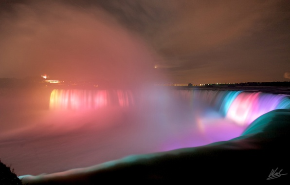 Picture Water, Lights, Night, The city, Backlight, Niagara falls