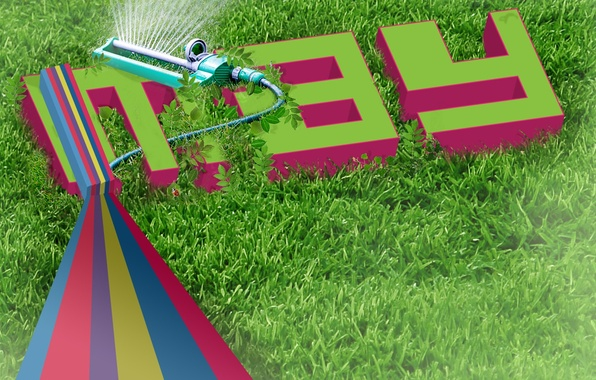 Picture lawn, spring, Grass, typography, thrower, may