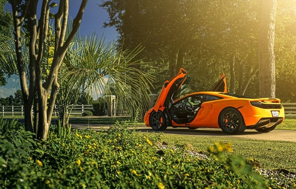 Picture McLaren, Orange, Sun, MP4-12C, Supercar, Wheels, Rear, ADV.1