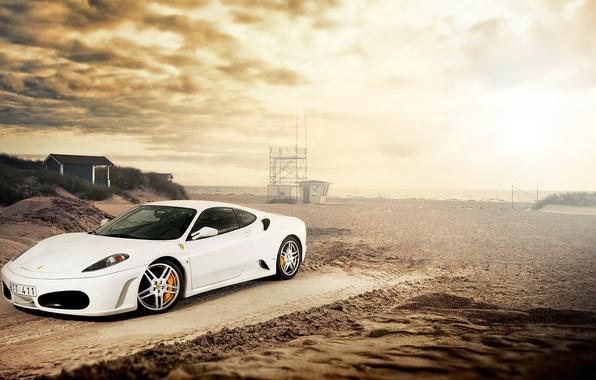 Picture sand, beach, white, Ferrari, white, Ferrari, Blik, front, F-430