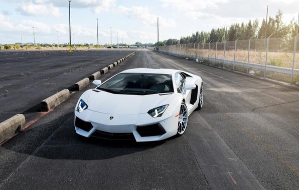 Picture road, white, the sky, clouds, the fence, white, lamborghini, front view, headlights, aventador, lp700-4, Lamborghini, …