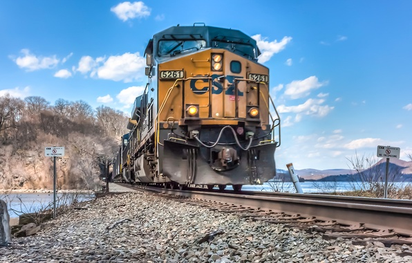 Picture road, the way, rails, train, locomotive