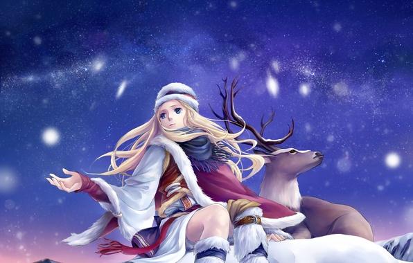 Picture winter, the sky, stars, snow, deer, art, girl, ann