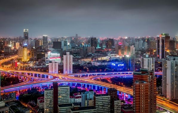 Picture China, building, road, panorama, China, Shanghai, Shanghai, night city, Huangpu, Huangpu