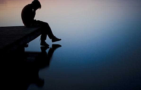 Picture sadness, river, boy, pierce, Guy, depression