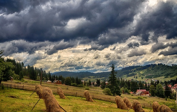 Picture clouds, mountains, clouds, field, home, slope, hay, Ukraine, forest, Carpathians, Bukovel, stack