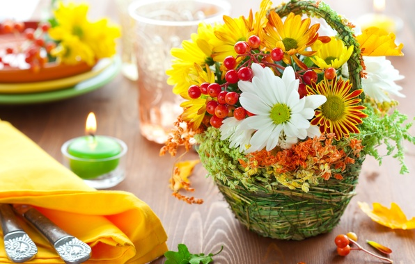 Picture leaves, flowers, berries, table, fire, candle, bouquet, Rowan, napkin, Cutlery