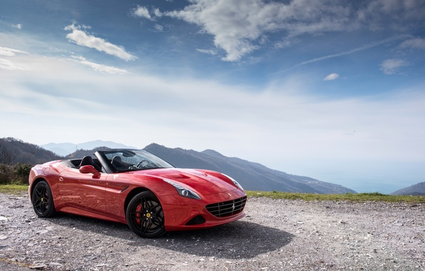 Picture car, the sky, red, Ferrari, red, car, Ferrari, California T, Handing Speciale