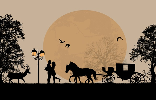 Picture trees, love, birds, romance, horse, pair, love, deer, cart, trees, birds, couple, horse, romance, deer, ...