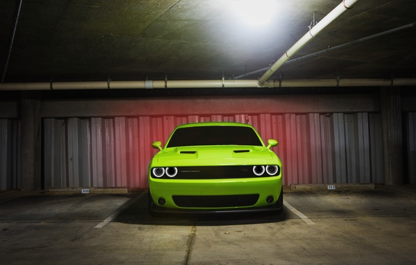 Picture Muscle, Dodge, Light, Challenger, Car, Green, Front, R/T