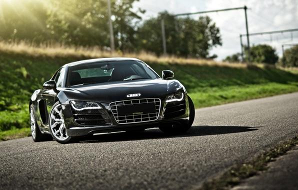 Picture road, glare, Audi, Audi, black, black, front
