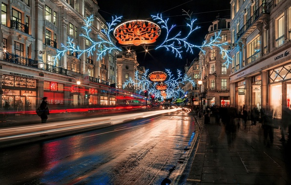 Picture winter, road, night, the city, lights, people, street, England, London, building, home, excerpt, UK, garland, …